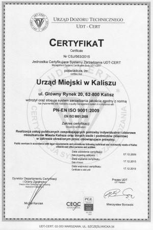 Certyfikat 2015 potwierdzający wdrożenie systemu PN-EN ISO 9001:2009 w Urzędzie Miejskim w Kaliszu